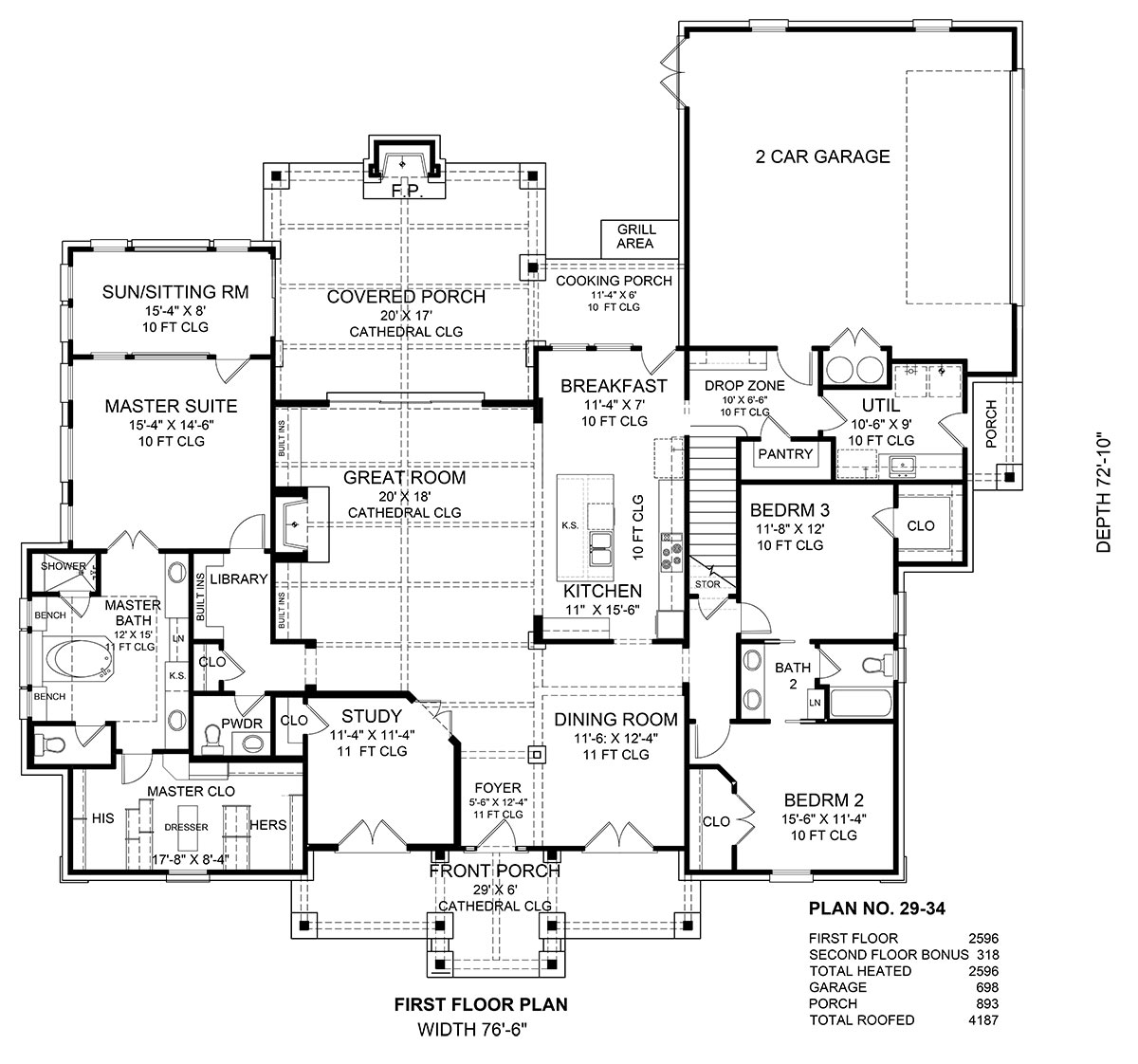First Floor Plan image of Featured House Plan: BHG - 1948