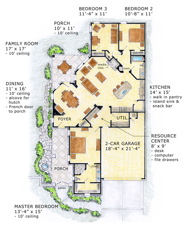 1st Floor Plan image of Featured House Plan: BHG - 9460