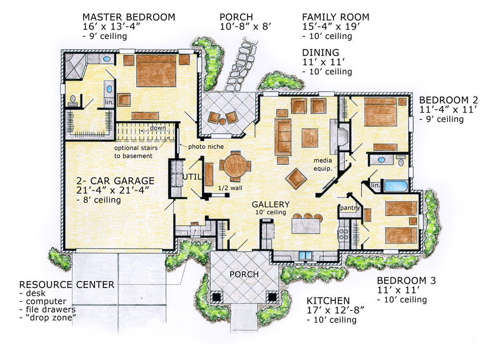 1st Floor Plan image of Featured House Plan: BHG - 9511