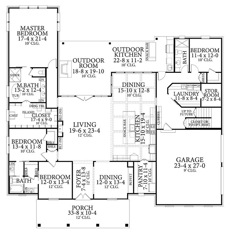 Main Floor Plan image of Featured House Plan: BHG - 6381