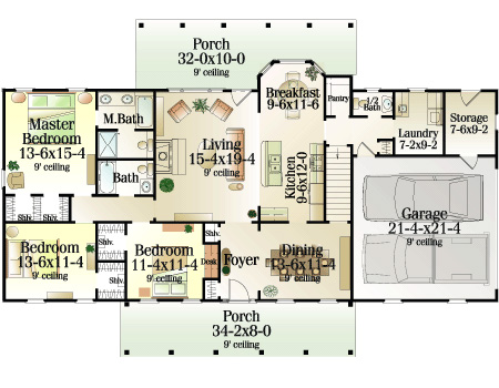 First Floor Plan image of Featured House Plan: BHG - 5374