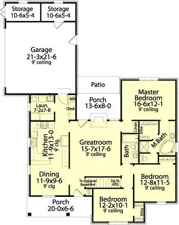 First Floor Plan image of Featured House Plan: BHG - 5610