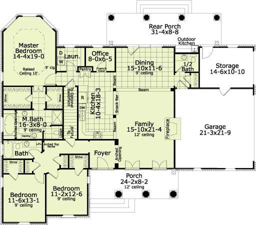 First Floor Plan image of Featured House Plan: BHG - 5613