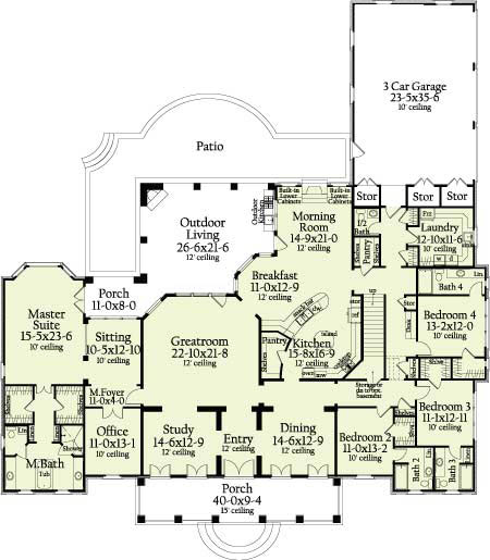 First Floor Plan image of Featured House Plan: BHG - 6964