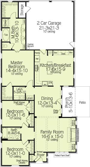 First Floor Plan image of Featured House Plan: BHG - 6383