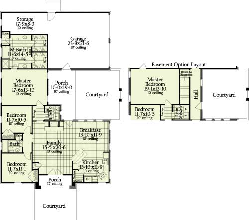 First Floor Plan image of Featured House Plan: BHG - 7036