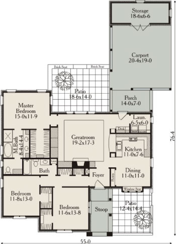 First Floor Plan image of Featured House Plan: BHG - 3668