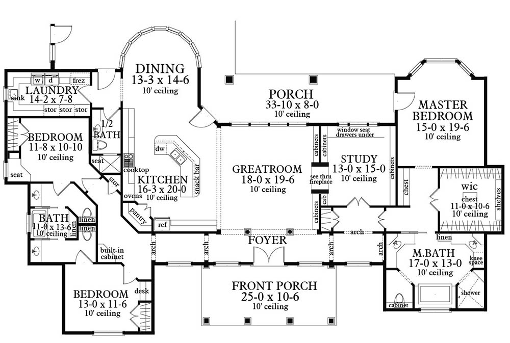 Main Floor Plan image of Featured House Plan: BHG - 3096