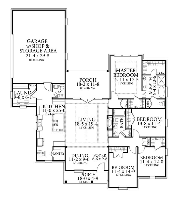 Floor Plan image of Featured House Plan: BHG - 6981