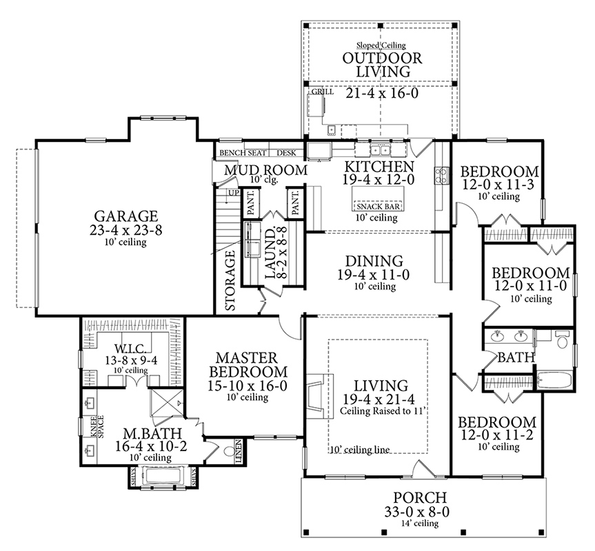 Main Floor Plan image of Featured House Plan: BHG - 7263