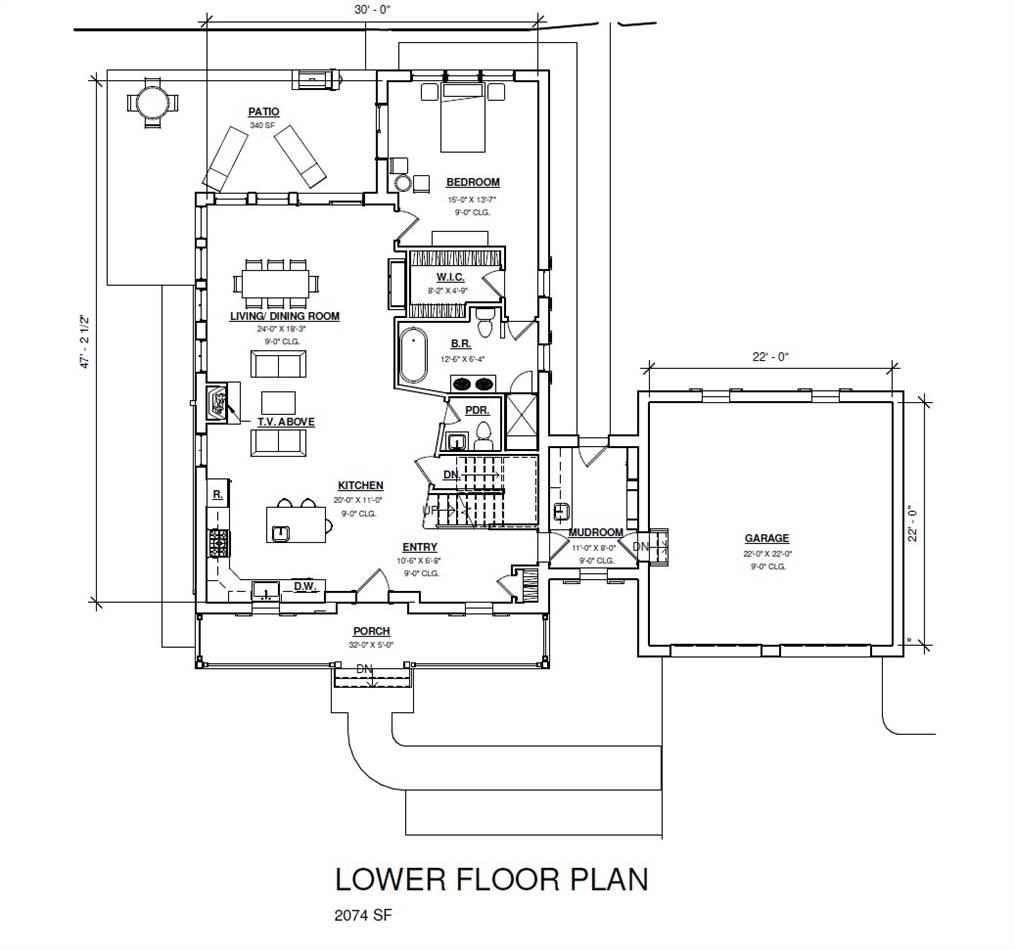1st Floor Plan image of Featured House Plan: BHG - 3405