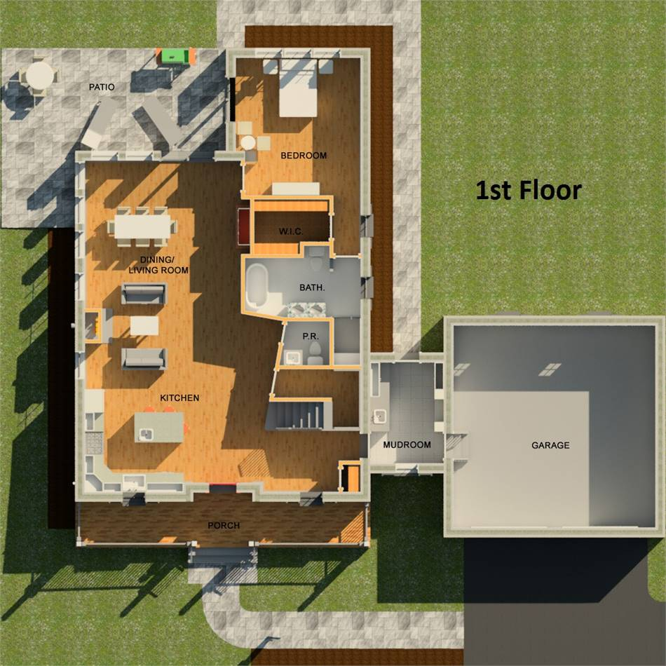 1st Floor 3D image of Featured House Plan: BHG - 3405