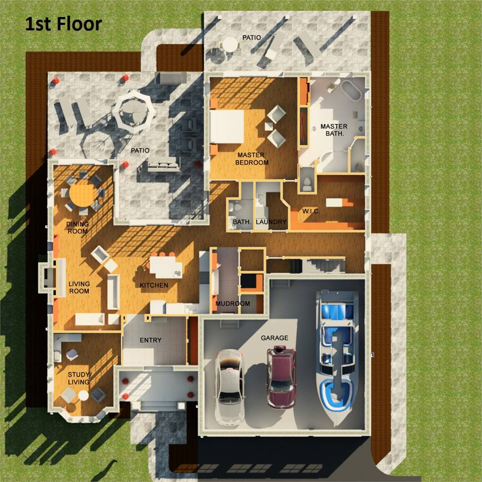 1st Floor Plan image of Featured House Plan: BHG - 3406
