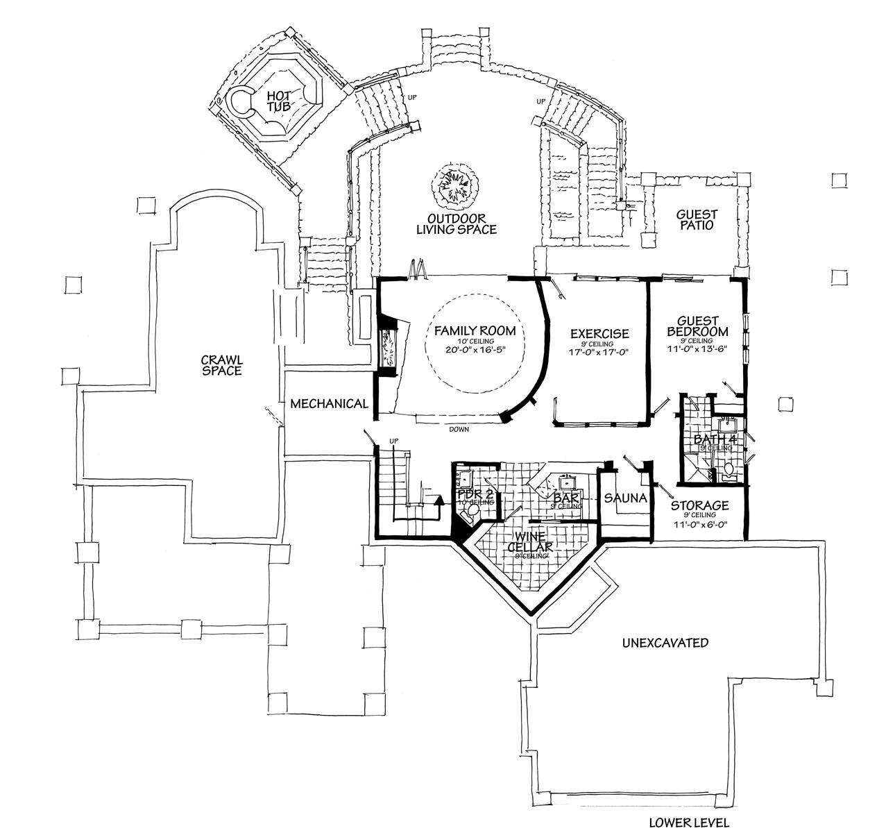 Lower Level Floor Plan image of Featured House Plan: BHG - 7115