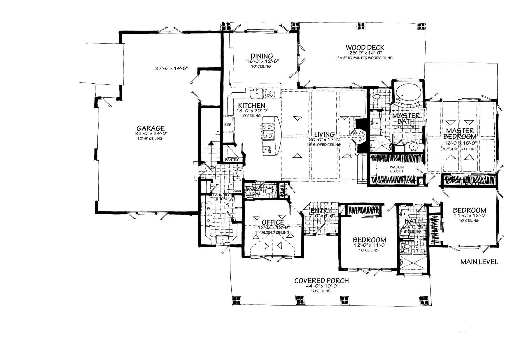 1st Floor Plan Side Entry Garage image of Featured House Plan: BHG - 7300