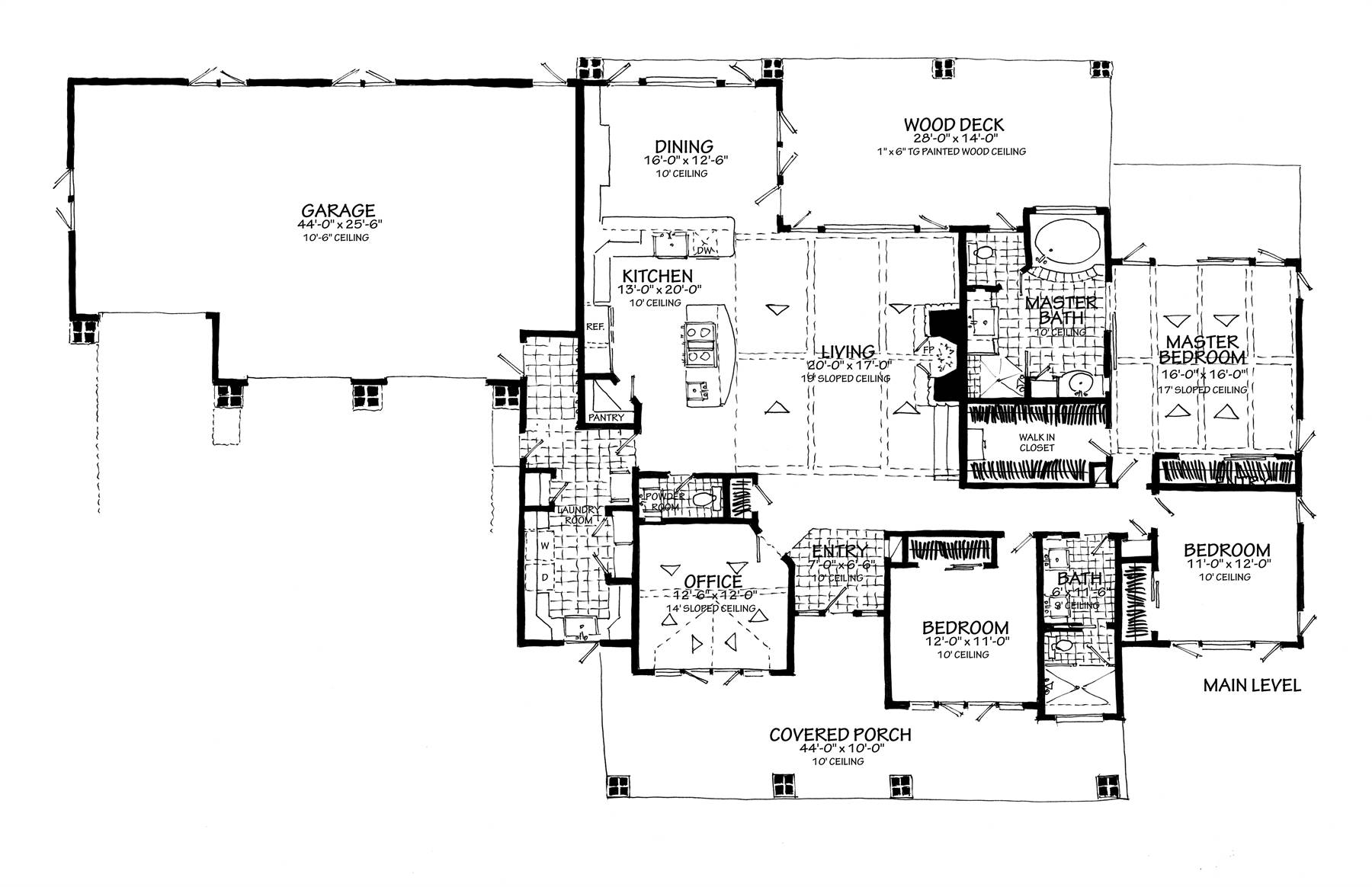 1st Floor Plan no Lower Level image of Featured House Plan: BHG - 7300