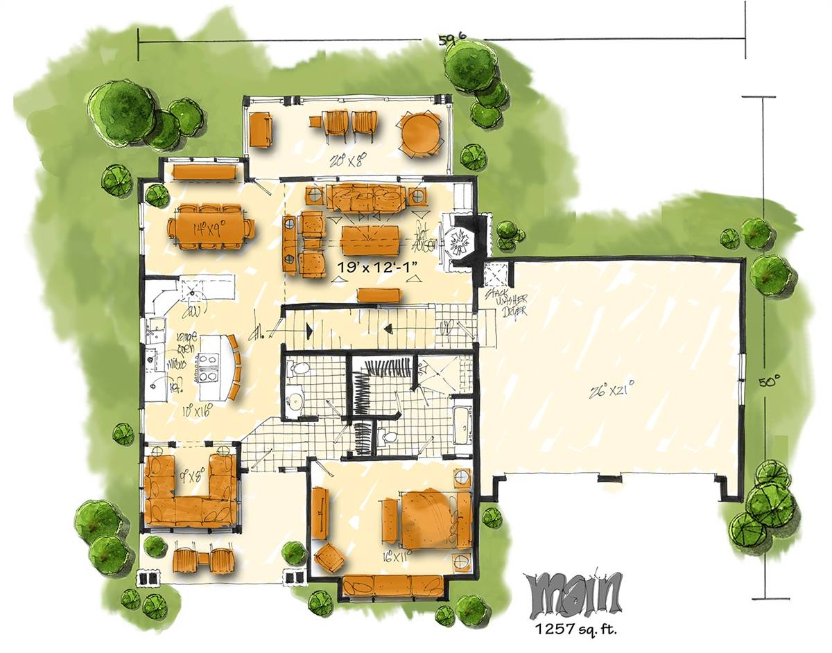 1st Floor Plan image of Featured House Plan: BHG - 3131