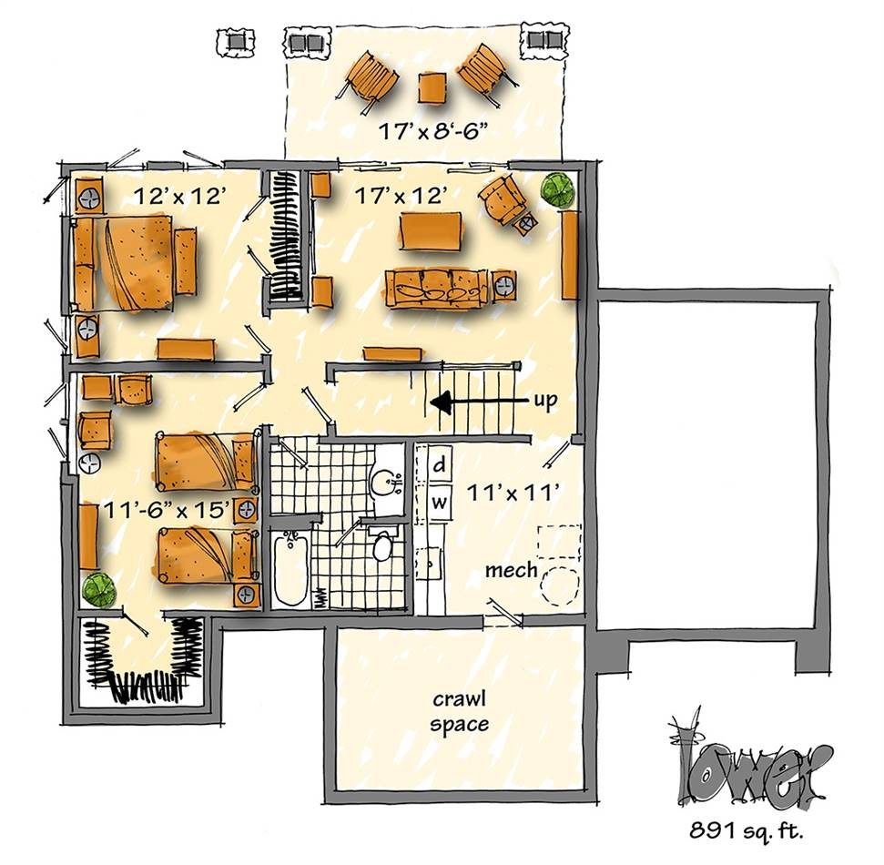 Floor Plan Lower Level image of Featured House Plan: BHG - 3130