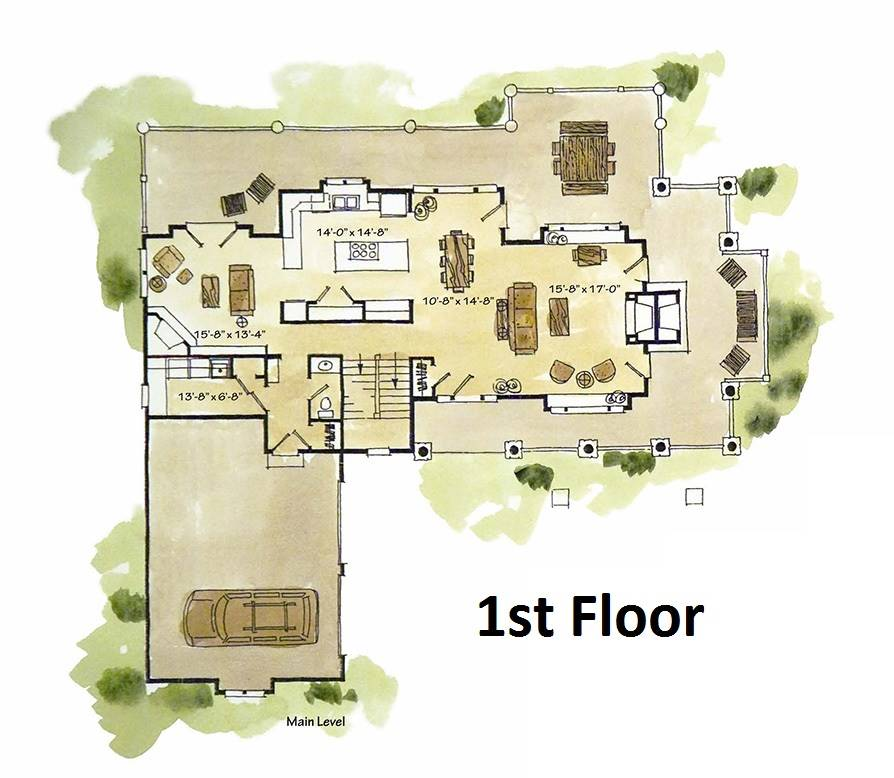 1st Floor Plan image of Featured House Plan: BHG - 1981