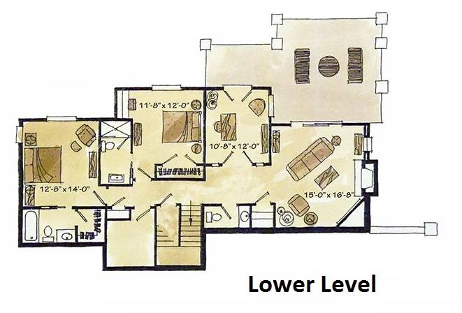 Lower Level Floor Plan image of Featured House Plan: BHG - 1981