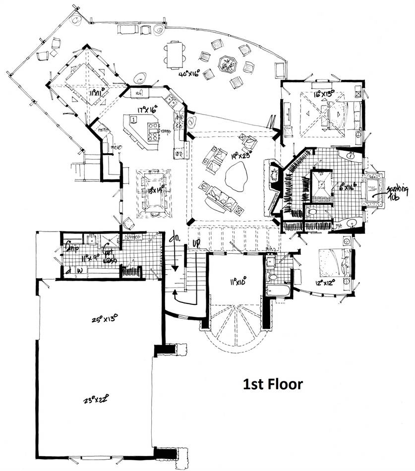 1st Floor Plan image of Featured House Plan: BHG - 1982