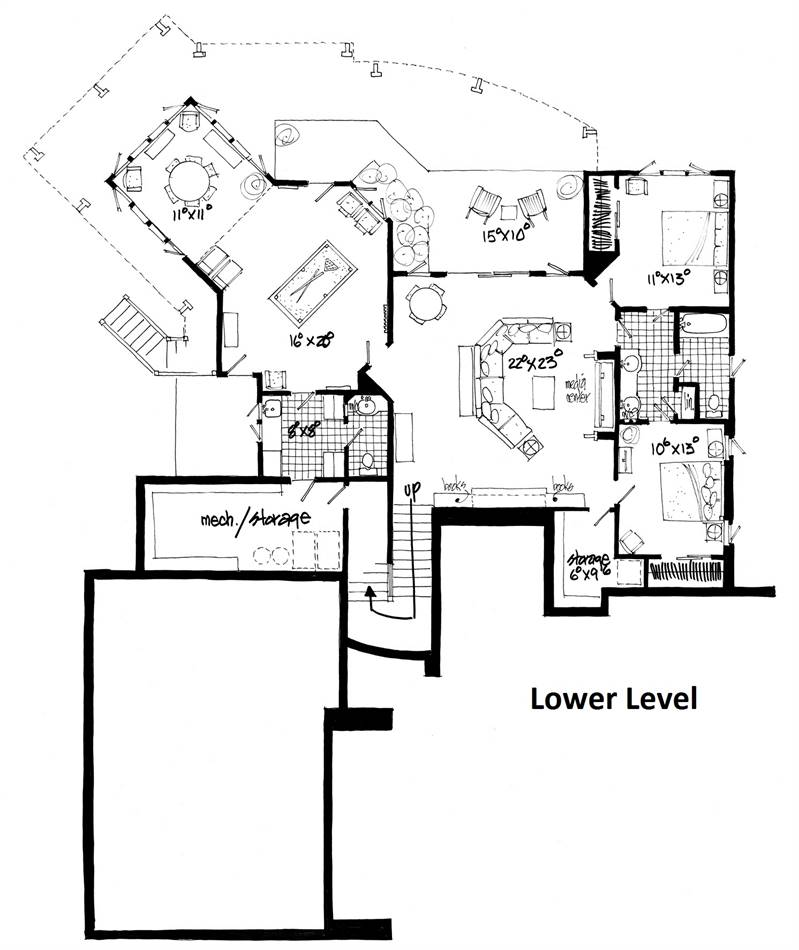 Lower Level Floor Plan image of Featured House Plan: BHG - 1982