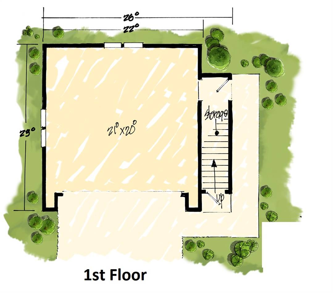 1st Floor Plan image of Featured House Plan: BHG - 1984