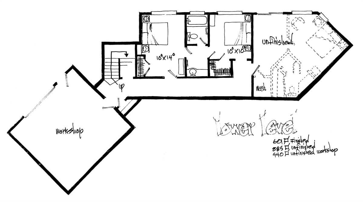 Lower Level Floor Plan image of Featured House Plan: BHG - 2053