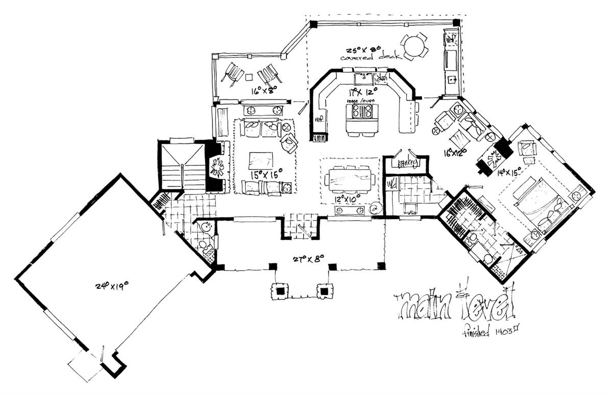 1st Floor Plan image of Featured House Plan: BHG - 2053