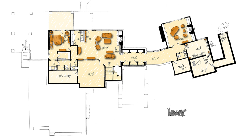 Lower Level Floor Plan image of Featured House Plan: BHG - 1006