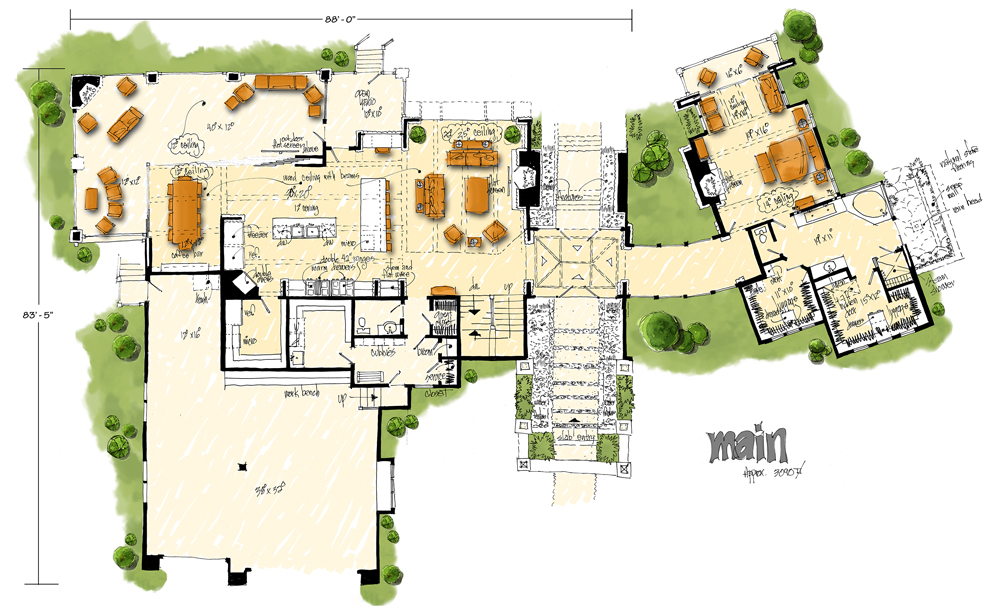 Main Level Floor Plan image of Featured House Plan: BHG - 1006