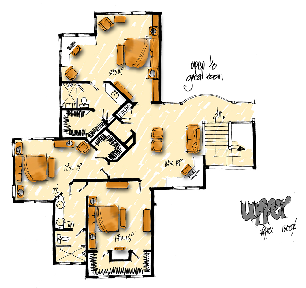 Upper Level Floor Plan image of Featured House Plan: BHG - 1006