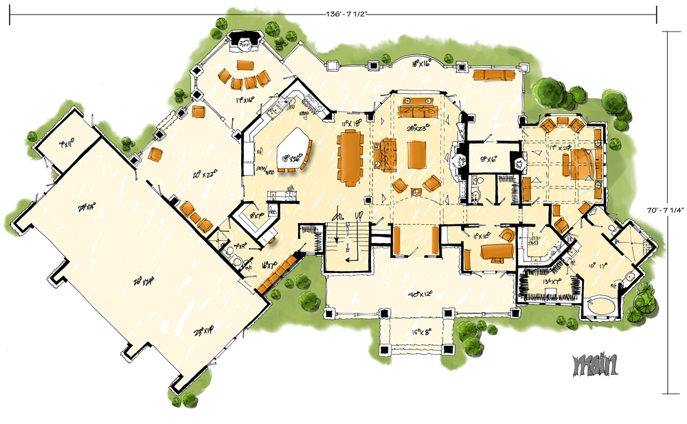 Main Level Floor Plan image of Featured House Plan: BHG - 1132