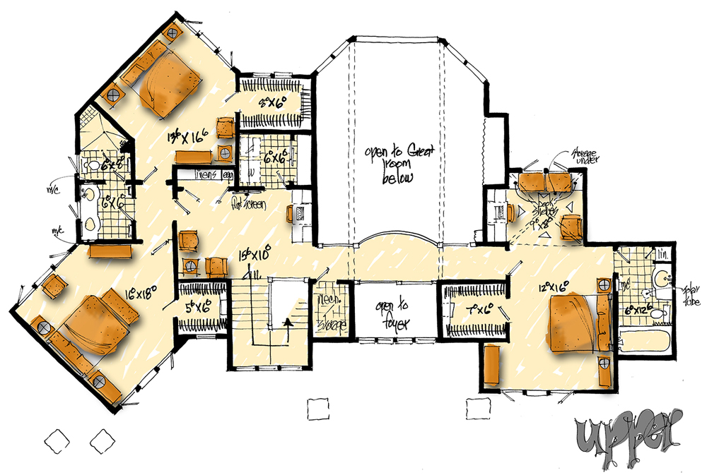 Upper Level Floor Plan image of Featured House Plan: BHG - 1132