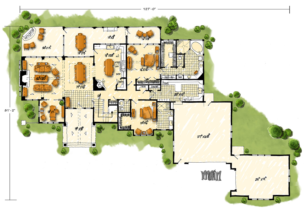Main Level Floor Plan image of Featured House Plan: BHG - 1004