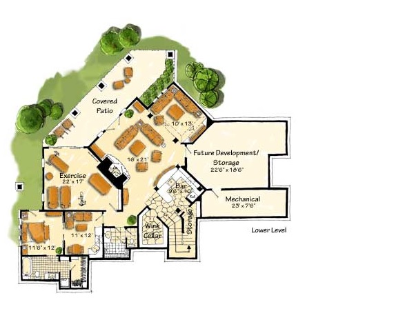 Lower Level Floor Plan image of Featured House Plan: BHG - 9407