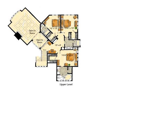 Upper Level Floor Plan image of Featured House Plan: BHG - 9407