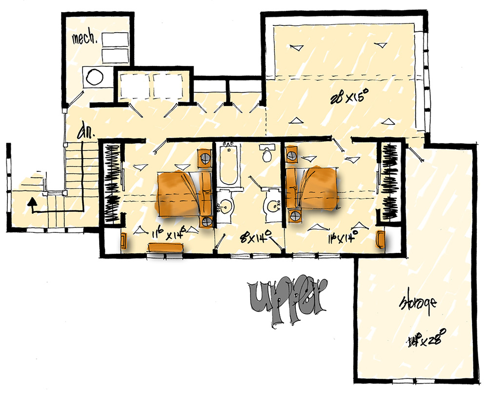 Upper Level Floor Plan image of Featured House Plan: BHG - 1004