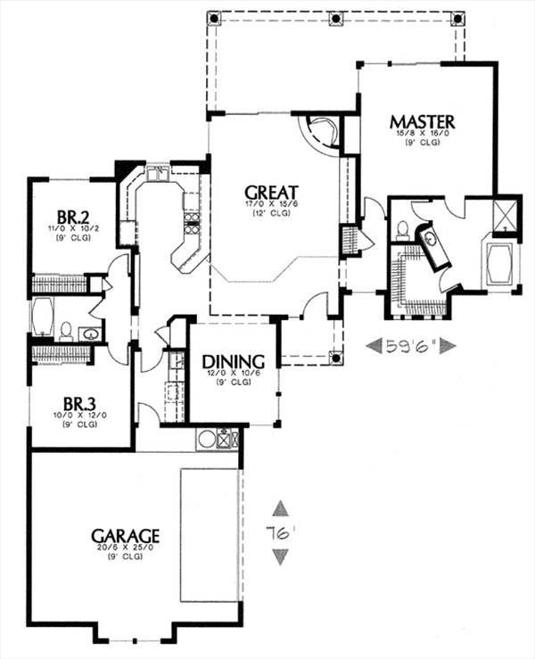 floor plan image of Featured House Plan: BHG - 6625