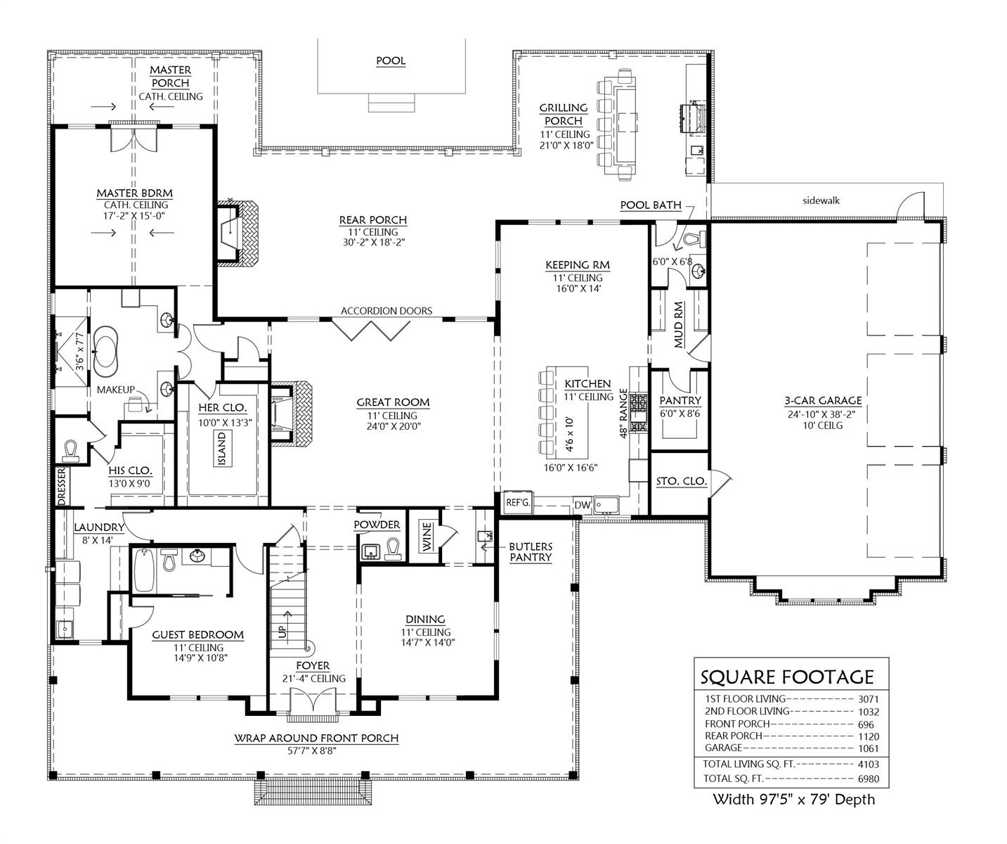 1st Floor image of Featured House Plan: BHG - 8644