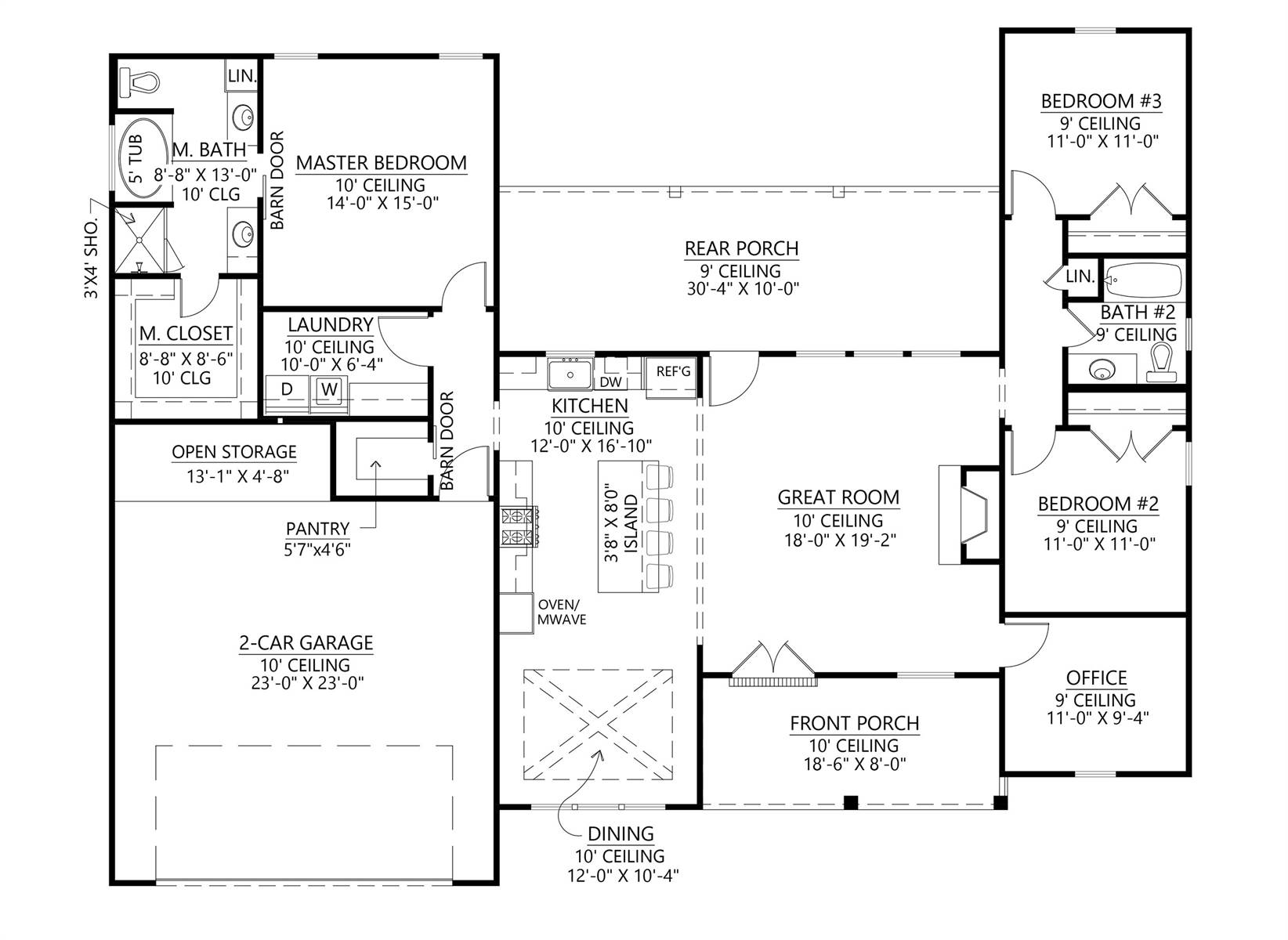 1st Floor image of Affordable One Story Farm House Style House Plan 8846
