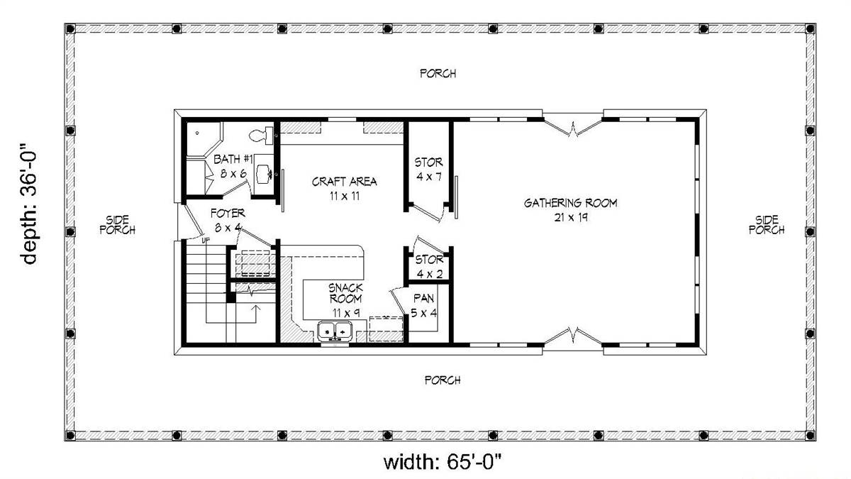 1st Floor Plan image of Featured House Plan: BHG - 2006
