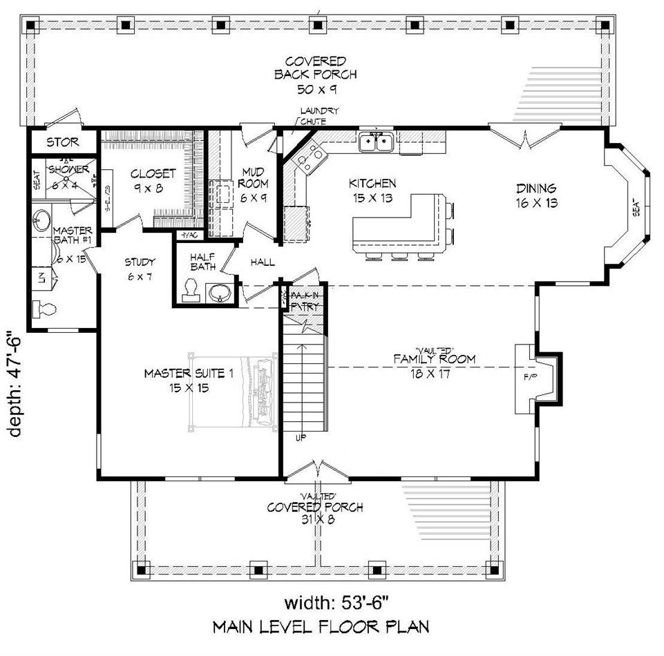 1st Floor Plan image of Featured House Plan: BHG - 2018