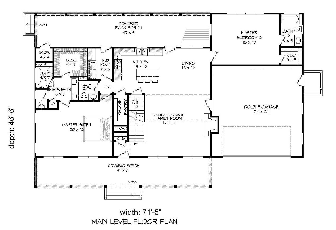 1st Floor Plan image of Featured House Plan: BHG - 7501