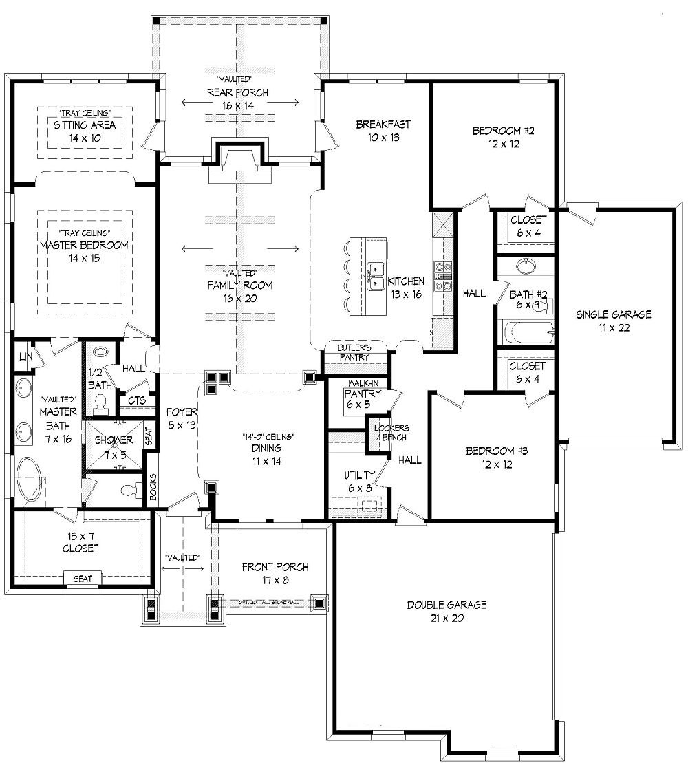 1st Floor Plan image of Featured House Plan: BHG - 9404