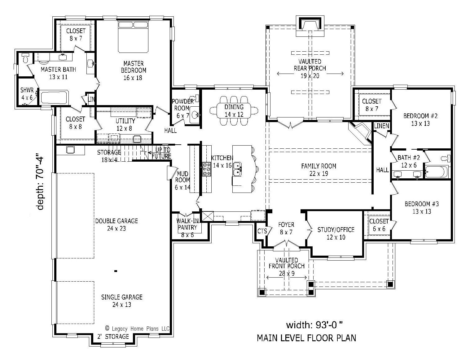 1st Floor Plan image of Featured House Plan: BHG - 1980