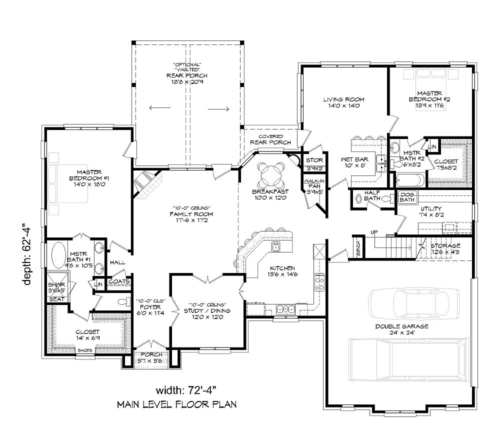 1st Floor Plan image of Featured House Plan: BHG - 9387