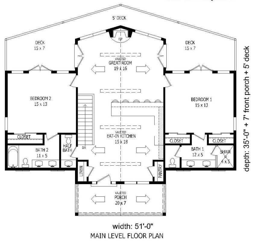 1st floor image of Featured House Plan: BHG - 1932