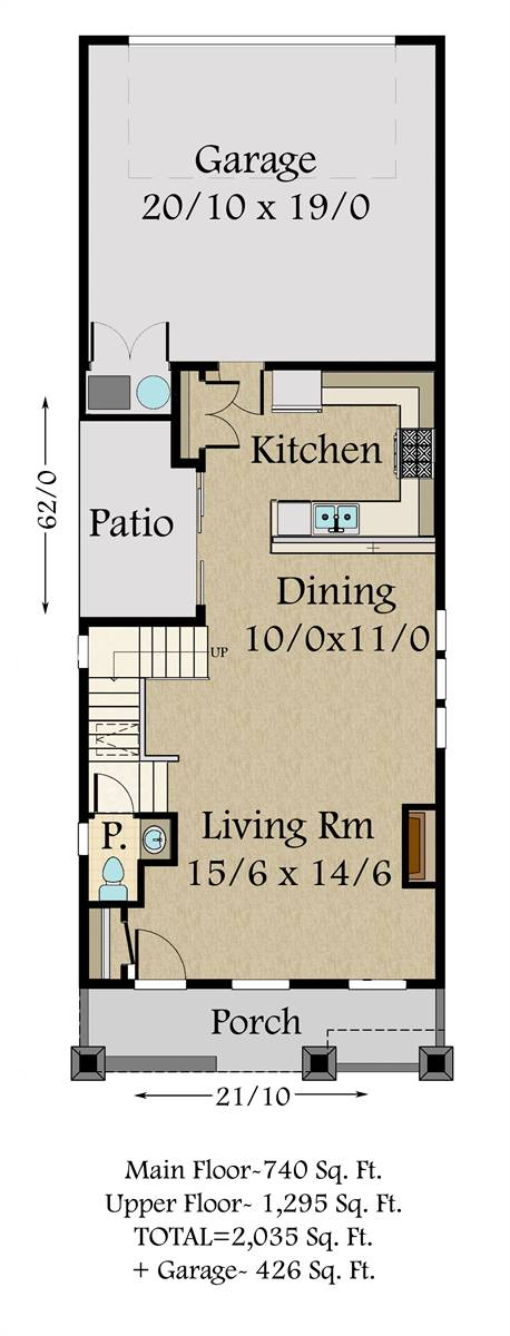 1st Floor Plan image of Featured House Plan: BHG - 7116