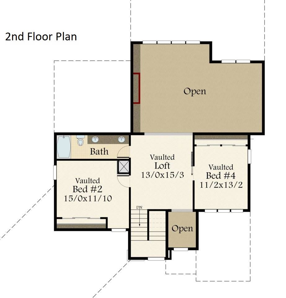 2nd Floor Plan image of Featured House Plan: BHG - 7257